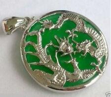 set jewlery green jade dragon phoenix amulet pendant necklace