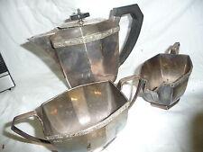 Silver 3 piece tea set elegant Sheffield  V.LD 23x16x11cm teapot ART DECO style