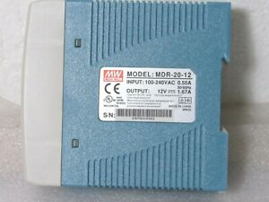 Mean Well MDR-20-12 AC to DC DIN-Rail Power Supply 12V 1.67 Amp 20W [CTOKT]