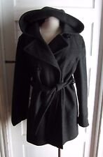 Womens Charles Klein Hooded Double Breasted Mottled Wool Jacket Short Coat 14
