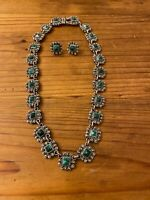 Vintage Mexico Sterling Silver & Malachite Necklace & Earrings Set 138 Gram