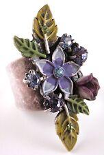 £25 Boho Silver Purple Green Flower Adjustable Ring Swarovski Elements Crystal