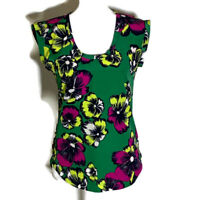 J Crew women's blouse green purple floral print top pullover shirt size 00