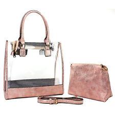 2-in-1 Clear PVC Tote Bag w/ Croc Embossed Trim - BG-CL471