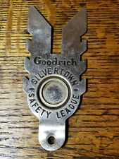 "Vintage 1930's Goodrich Silvertown Safety League License Plate Topper 5 3/8""T"