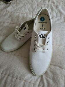 Mens ralph lauren polo canvas lace up white trainers size 8 brand new