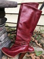 WMS VINTAGE ZODIAC RED LEATHER WESTERN BOOTS KNEE HIGH HEELED SZ 5M