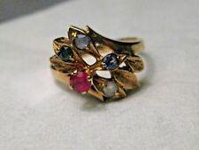 Vintage 14kt  Gold Mother's Ring, Ruby, Sapphire, Emerald, Topaz, Aqua, sz. 6,