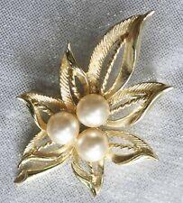 "Fabulous Mid Century Modern Faux Pearl Leaf Brooch 1960s vintage 2 1/2"""