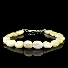 TOP AAA 98.00 CTS NATURAL OVAL SHAPED RICH WHITE MOTHER PEARL BEADS BRACELET