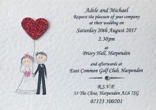10 Handmade Personalised Wedding Invitations Day or Evening - Free Sample Proof!