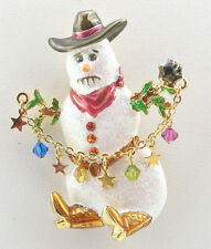 Kirks Folly Wild West Cowboy Up Snowman Pin/ Pendant ~ Never Released~ Goldtone