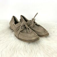 Steve Madden 7.5 Womens Taupe Suede Sallutte Lace-up Flats