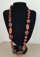 COSTUME JEWELLERY Chunky Wooden Brown Round Tribal Boho Strand String Necklace