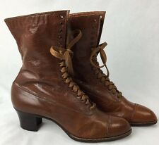 Victorian Edwardian High Top Shoes Boots Utz & Dunn Rochester NY Chestnut 4C Kid