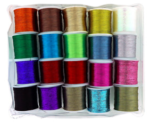 Metallic Glitter Thread 20 Pack 1mm Shiny Decorative Embroidery Sewing Craft