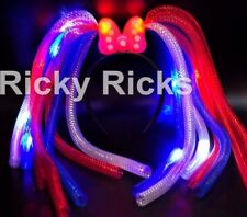12 Noodle LED Headbands Light Up Bows Party Rave Wear Costume Flashing Favors