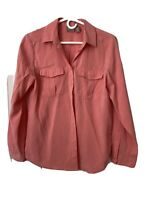 CHICO'S Womens Pink long Sleeve Button Down Shirt Size 0 Lightweight