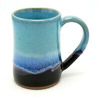"Tankard Beer Mug 17 oz Studio Pottery Drip Glaze Turquoise Blue Black 5"" Ceramic"
