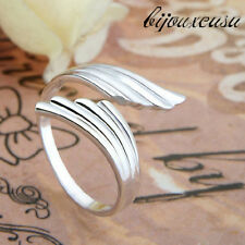 High Quality Silver Plated Double Angel Wings Opening Adjustable Ring New LCF