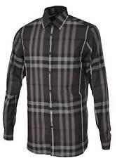 New Burberry London Men's Treyforth Charcoal Grey Beat Nova Check Shirt SZ 15.5