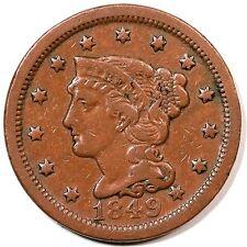 1849 N-20 Braided Hair Large Cent Coin 1c