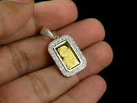 "14K Yellow Gold Over 1G Lady Fortuna Bar Round Cut Diamond Pendant Charm 1.2""In"