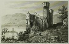Lemaitre 1838 - RÜDESHEIM Burg Ehrenfels - Stahlstich