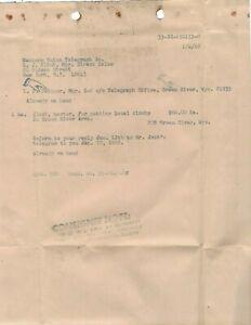 1968 WESTERN UNION  COMPANY WORK ORDER Green River Wyo. for setting local clocks
