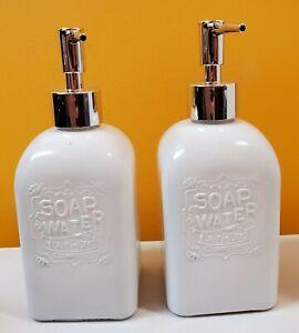 2 Pack Blue Harbor Refillable Glass Liquid Hand soap Dispensers (Black or White)