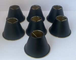 7 Matte Black Gold Metal Clip On Light Lamp Shades MCM Chandelier Replacement