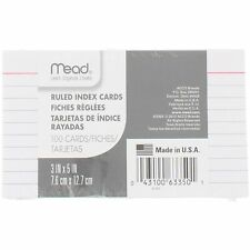 Mead Ruled Index Cards, White, 3 x 5, 100/Pack