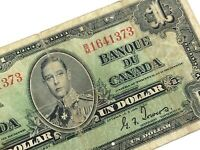 1937 Canada One 1 Dollar BM Prefix Canadian Circulated Banknote L739