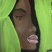 Original Black Americana Folk Art. 10x10 'Heartache' by DML Acrylic on canvas