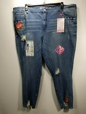 Almost Famous Womens NWT High Rise Destroyed/Distressed Embroidered Sz 24 Jeans