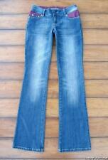 ANISETTE Jeans ~ Size 0 ~ Sparkle Lucite Button Satin Brocade Straight Leg Jeans