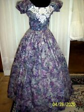 Victorian Day Gown of Pastel Print, shades of Gray, White crochet Applique trim