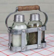 Rustic Handled Farmhouse Milk Crate Mini Mason Jar Salt and Pepper Shaker Caddy