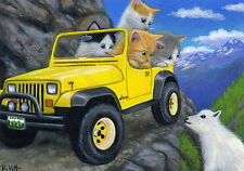 Kittens cat jeep car mountain goat off road trail OE aceo print of painting art