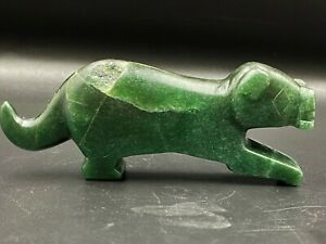 Ancient Pyu culture  Green Aventurine carved Jade  Tiger figure Amulet Bead