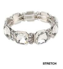 Silver Tone Clear Crystal Stretch Bracelet