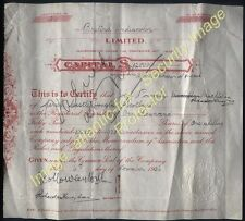 1936 BRITISH ONDIACOLOR LTD SHARE CERTIFICATE 1000 shares Sir George Rowley Hill