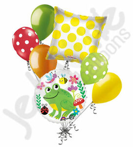 7 pc Happy Green Frog & Friends Balloon Bouquet Party Decoration Birthday Baby