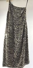 Cache woman's cocktail dress - zebra stripe sequin single shoulder - size 6