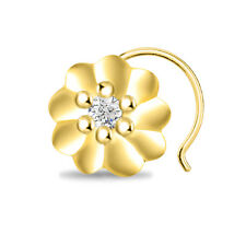 SOLITAIRE 14K YELLOW GOLD FINISH 925 STERLING SILVER CZ LADIES NOSE PIN BEAUTY