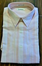 Vintage Damon Men Shirt Medium Striped Short Sleeves Hong Kong New