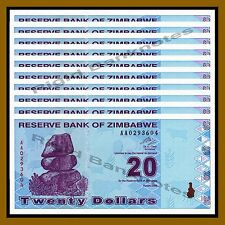 Zimbabwe 20 Dollars x 10 Pcs, 2009 P-95 Revised Trillion Unc