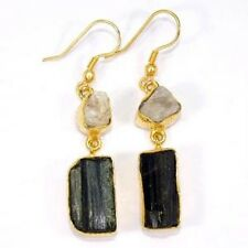 Black Tourmaline Rainbow Moonstone Drop Dangle Earring Handmade