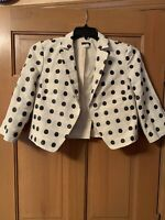 J. Crew Women's Jacket  Blazer Polka Dots Sz 8 Cotton Linen Cream Lined Short