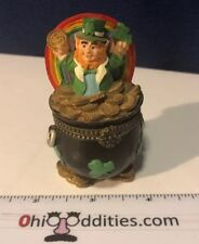 Lucky Leprechaun Rainbow And Pot Of Gold Trinket Box
